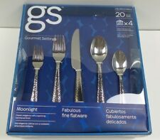 Gourmet Settings Moonlight GS 20 Piece Flatware Set Hammered Finish, 18/10 F/4