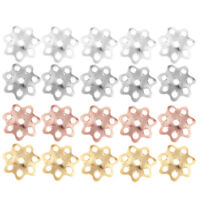 5Pcs 925 Sterling Silver Flower Beads Cap Pendant Jewelry Findings DIY Craft