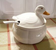 LOS ANGELES POTTERY/N.S. GUSTIN off-white DUCK TUREEN w/ LADLE. Excellent cond.