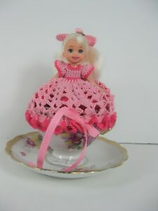 KELLY Doll plus handmade crochet PINK dress and a vintage tea cup ALL INCLUSIVE