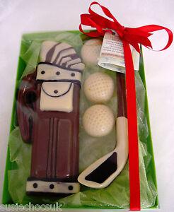 Belgian Chocolate Handmade Golf Set with golf bag, golf bag and golf balls