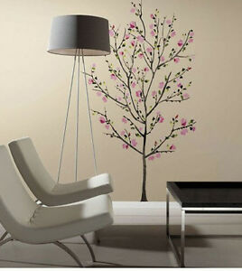 """PINK BLOSSOM TREE wall stickers MURAL 33 decals cherry flowers branch 65"""" tall"""