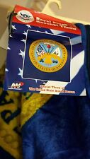 "ROYAL PLUSH RASCHEL THROW DEPARTMENT OF THE ARMY 50"" x 60"" NEW BLUE"