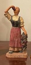 """""""Lady Savoring Grapes"""" Vintage Wooden Figurine - Height: 8.5"""""""