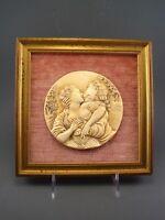 Ancien Cadre Médaillon Bas Relief Couple Scène galante coquine érotique XIX - XX