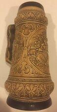 "Ceramic German Beer Stein 10.5"" No Lid. Beautiful W/Couple. Horse, Trumpet, Kiss"