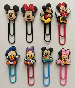 Disney Mickey Mouse Minnie Paperclip Bookmarks x8 cute birthday xmas kids gifts