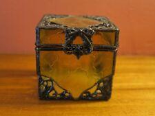 VINTAGE METAL AMBER GLASS TRINKET BOX JEWELRY HOLDER MIRROR BOTTOM