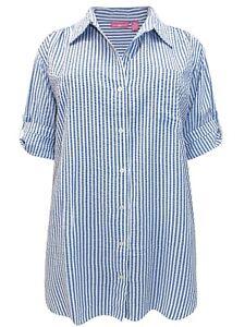 Woman Within Striped Shirt Plus Size 22/24 26/28 30/32 Blue Cotton Blouse 511