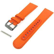 SEIKO SNKN39 Canvas Leather Orange Watch Strap Band 24mm L0DH011N9