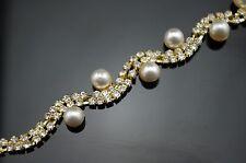 1 Yard 2 Rows 3mm Clear Crystal and Pearl Rhinestone Gold Chain Costume Trim