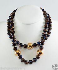 Simon Sebbag 2 Gold sterling silver/ blue gold imperial jade beads necklace