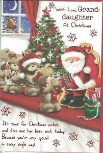 Granddaughter Christmas Card Cute Design By Prelude Med Size 23cm x 16cm