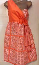 Luella Bartley Gretel Orange Embroidered Cream Silk One Shoulder Dress 8 S 36