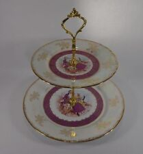 Vintage Czech Republic Porcelain 2-Tiered Stand Tray Serving Courting Couple