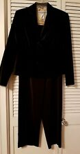 JESSICA HOWARD Cotton Velvet Jacket 3 pc Womens Pant Suit Black Sz 8
