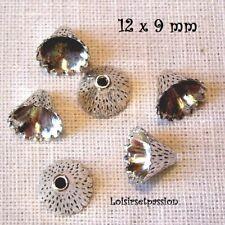 LOT de 6 COUPELLES / CALOTTE, Cône strié, Métal Argent vieilli, 12 x 9 mm - C10