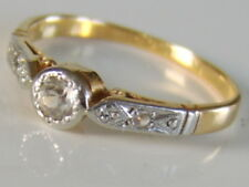 Antique Art Deco 22ct Gold & Platinum Old Cut Diamond Solitaire Ring Size l.1/2
