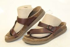 Mephisto Womens 37 7 USED Helen Brown Leather Sandals Slides Shoes cs