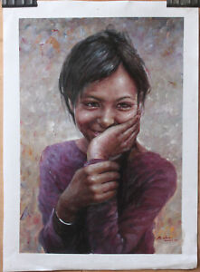 "Fine art original oil painting portrait of Girl from Nepali shy smile 16""x24"""