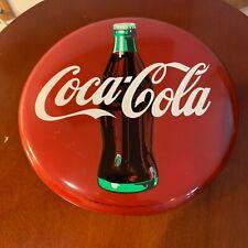 vintage coca cola button sign 1990 metal