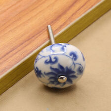 White and Blue Porcelain Ceramic Door Knobs China Cabinet Knobs Drawer Pulls