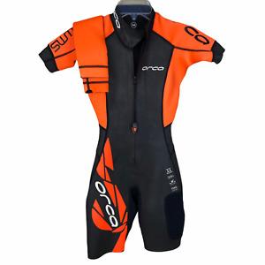 Orca Womens XS Swim Run Triathlon Wetsuit Orange Black Hydrolite Short $395