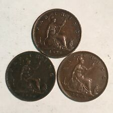 1878, 80, 85 Great Britain Farthing Lot of 3 XF