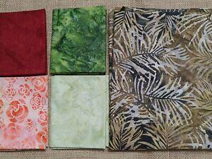 Vintage 2 yards various batik fabric 4 fat quarters 1 yard piece brown unbranded