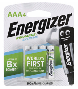Energizer Recharge AAA 800 mAh 4 pack 5 year shelf life Batteries Made in Japan