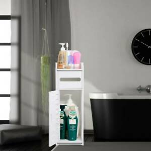 Small Bathroom Shelf Cabinet Cupboard Bedroom Toilet Storage Unit Standing White