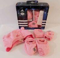 Adidas Disney Gift Set Baby Girl Hat Mitts Booties Winter Set Pink