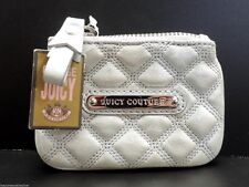 Juicy Couture Leather Coin Purse Key Ring Light Blue Top Zip New! NWT