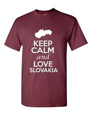 Keep Calm And Love Slovakia Country Novelty Statement Graphic Adult T-Shirt Tee