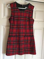 Bianca Nygard Jumper Dress Red Plaid Sz 6 Zip Back Faux Leather Trim Fall/Winter