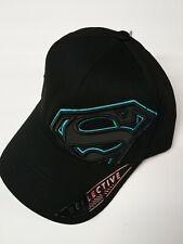 Licensed Superman Bright Blue Reflective Logo Outline Black Stretch Hat NWT OSFM