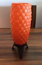 VINTAGE MID CENTURY MODERN TRIPOD BUBBLE BEEHIVE LAMP PLASTIC TEAK ATOMIC ORANGE