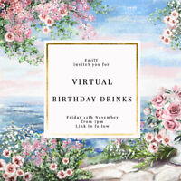 DIGITAL VIRTUAL FILE INVITE FOR ZOOM BIRTHDAY PARTY,DRINKS,PRETTY FLORALS