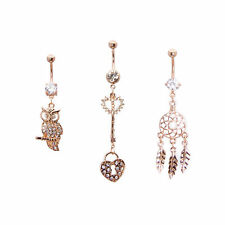Ion-Plated Rose Gold Belly Ring with Dangle