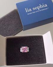 Lia Sophia Ring Size 10 - Pink Square Stone, 2 White Square Stones (663-10) NIB