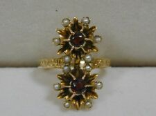 STUNNING VICTORIAN ANTIQUE DOUBLE GARNET & SEED PEARL STARBURST RING~SIZE 6.5
