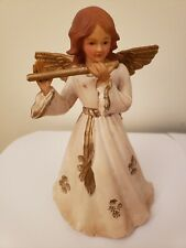 Vintage Hard Plastic Angel With Flute Tree Topper or Ornament