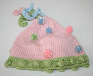 Nana Knits Little Girl's Pink Knit Hat Size Small