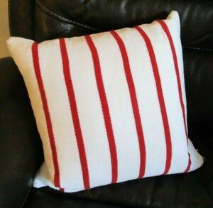 "Ralph Lauren Throw Sofa Pillow w/ Goose Down - White w/ Red Stripes 16""x16"""