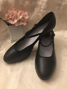 """Capezio Womens Tap Shoes Full Leather Size 10 1/2 M Black 2"""" Heel Made in USA"""