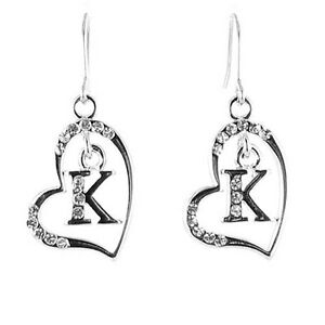 Clear Crystal on Silver Plated Initial Earrings MORE INITIALS AVAILABLE