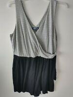 Modcloth Womens Size 1X Romper Striped Black Sleeveless V-Neck