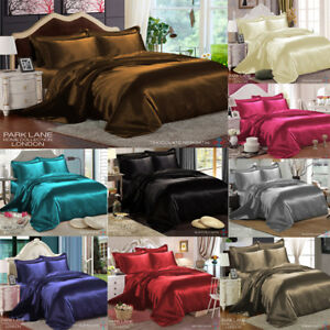 6 Piece Satin Silk Bedding Set With Duvet Quilt Cover Fitted Sheet 4 Pillow Case