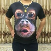 Men T-shirt Short Sleeve 3D Print Orangutan Top Crew Neck Oversized Summer Funny