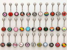 "mixed logos designs 14g 7/16"" 25pc pack logo navel belly rings"
